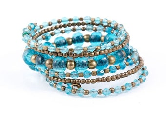 Coil Glass Bead Bracelet (See Colors)