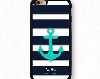 Iphone SE Case Iphone 6S Case Iphone 6S Plus Case Iphone 5S Teal Anchor Iphone 6 Plus Case Nautical Anchor Navy Blue Aqua Phone Case Gift