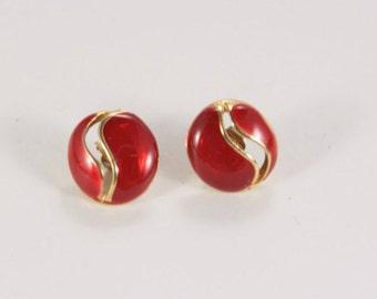 Little Red Earrings Stud Enamel Earrings Round Post Earrings Very Little Studs Casual Earrings Vintage Gold Red Cheap Gift For Daughter Mom