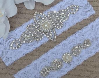 Petite / Plus Size Garter Belt, Wedding Garter - Bridal Garter - Pearl and Crystal Rhinestone Garter, Garter Set,  Rosalie Style 10821