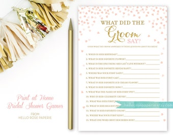 Pink and Gold Bridal Shower Games . What Did the Groom Say About His Bride Game . Printable Instant Download Game . Gold Glitter Pink Hearts