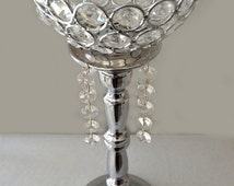 Silver Bling Rhinestone Flower Ball Stand OR Candle Holder Wedding Centerpiece with crystal hanging  ornaments