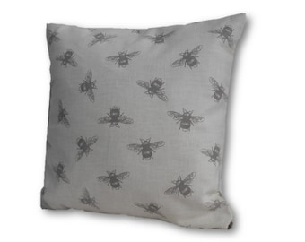 "Bee Cushion Cover, 12"" Bee Pillow Case, Natural Coloured Bee Cushion Cover"