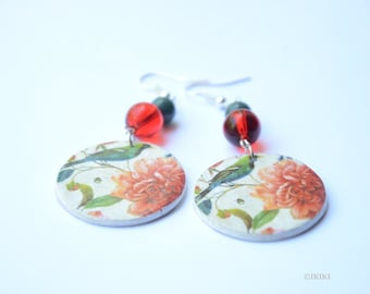 Decoupage Earrings, Floral Decoupage Earrings, Decoupage Jewelry, Big Circle Earrings, Large Round Earrings, Birds Flowers Earrings