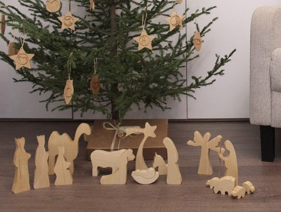 Modern Wood Nativity - OILED Wooden nativity Nativity set Nativity scene Nativity figures Nativity silhouette