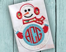 Monogram Snowman Digital Christmas Applique Design - Christmas - Holiday - Christmas Embroidery Design - Machine Embroidery