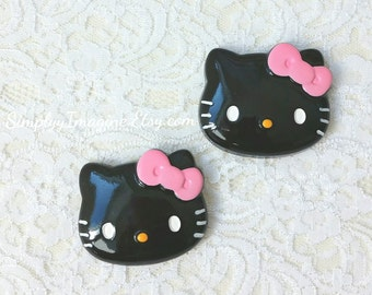 Large Hello Kitty Face Head Black Pink Bow Cabochon Resin Flatback Scrapbook Supplies - 2 PCS - 45mm
