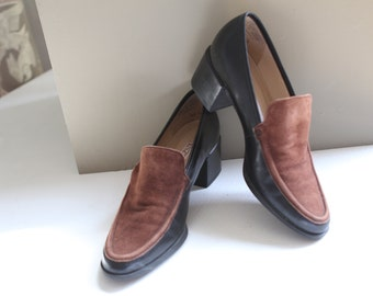 Vintage 1990s Enzo Angiolini heeled black and brown leather/suede loafers, size 6, mint condition