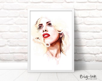 Lady Gaga Art Print - Colorful Watercolour Portrait Poster - 4 Sizes Available