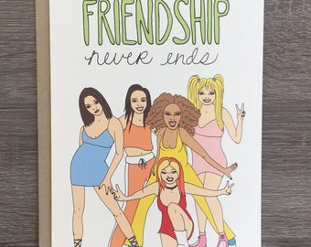 Friendship Never Ends - Funny Friendship Card - Funny Birthday Card - 90s Card - 90s Nostalgia