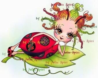 Digital Stamps, Digi stamp, Coloring pages, Girl stamp, Ladybug, Fantasy, Child stamp. The Garden Dwellers Collection. The Little Ladybug