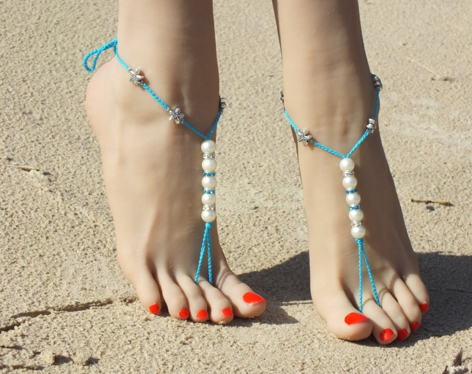 Beach wedding barefoot sandals/Turquoise Barefoot sandals/Bridal Foot Jewelry/Destination Wedding/ Nude shoes/barefoot sandals wedding