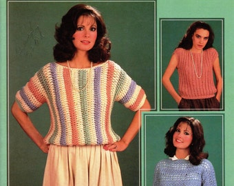 Crochet E-Book Leisure Arts Spring Crochet Sweaters  Pullover Leaflet 347 - Crochet Patterns - PDF Download U.S.Version