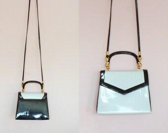 Cute Vintage Small Black & White Patent Hand / Shoulder Bag  / Detachable Strap