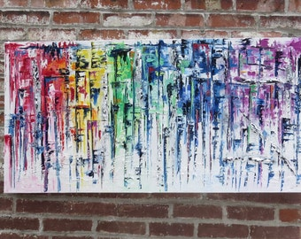 Original palette knife abstract painting by MEDArts colorful with texture Impasto Rainbow red yellow orange blue green purple white black