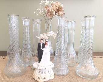 10 Clear Glass Vases Lot of Vases Wedding  Party Vases