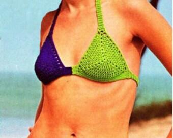 Crochet Pdf Pattern - Vintage Ladies bikini-women's swimwear of 1970