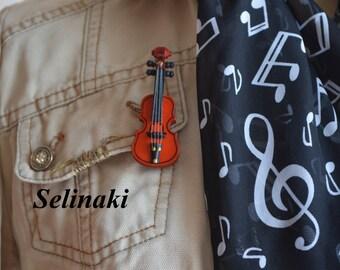 Violin Brooch Pin Music Jewellery