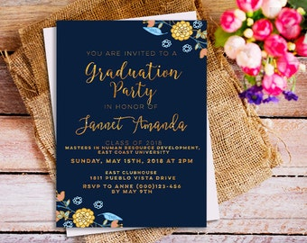 Navy blue Graduation Party Invitation, Navy Blue & Gold Invitation, blue Modern Graduation Invitation, elegant,  assistant invitation