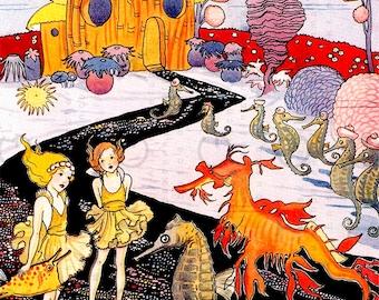 Water Sprites & Seahorses Rare FAB Art DECO Illustration. Digital Fairy Download. Vintage Mermaid Fairy Tale.