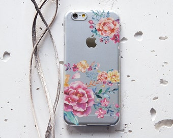 Beautiful Flowers on Clear Transparent Samsung Galaxy S6 Hard Cover Cover for iPhone 6 6s 6s Plus Samsung Galaxy S4 S5 S6 Note iPod 047