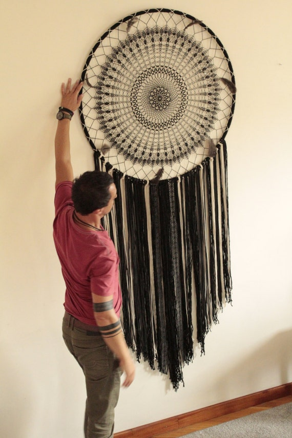Large Dream Catcher Boho Wall Hanging Black Dream Catcher