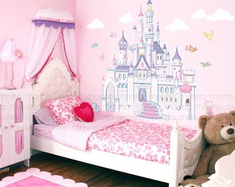 Disney Princess Castle with Colorful Birds and Squirrel-Large Wall Sticker,Kids  Room Bedroom Playroom Wall Decal,Nursery Wall Decal [MT014]