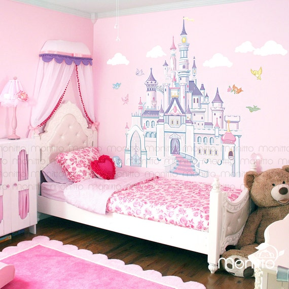 Disney princess castle with colorful birds and squirrel large for Disney wall stencils for painting kids rooms