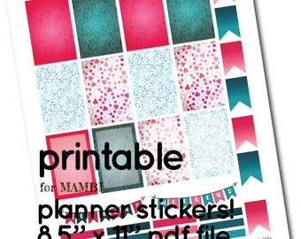 MAMBI Printable Dark Teal and Fuchsia Full Box Stickers - Boxes, Headers and Flags for Happy Planner