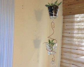 Hanging double planter chain for air plants tillandsia or succulents double flower pot