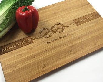 Cutting Board Personalized Wedding Gift Rustic Wedding Knot Tie the Knot Wedding date  Laser Engraved Cutting Board Anniversary Gift