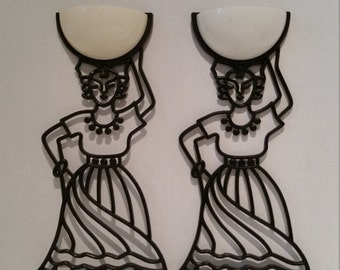Vintage Fun Set of Two Caribbean Women Wall Decorations