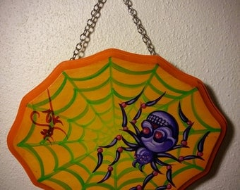 skull spider acrylic painting wood plaque