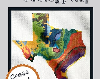 KIT Texas Cross Stitch Kit DIY - Texas State Geology Map Colorful Beginner to Advanced Pattern
