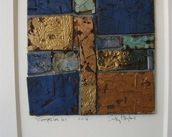 """Original Abstract Collage Art Mixed Media Rustic Architectural """"Composition 101"""""""