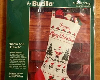 CHRISTMAS STOCKING Counted Cross Stitch Kit ~ BUCILLA Beaded Felt Santa & Friends Personalized