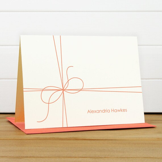 Personalized Stationery Set / Personalized Stationary Set - TWINE Custom Personalized Notecard Set - Gift Bow Cute
