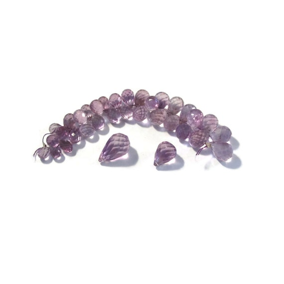 34 Amethyst Beads, Faceted Purple Briolettes, Graduated Strand, 14.5mm x 9mm - 6.5mm x 4.5mm, February Birthstone (Luxe-Am3b)