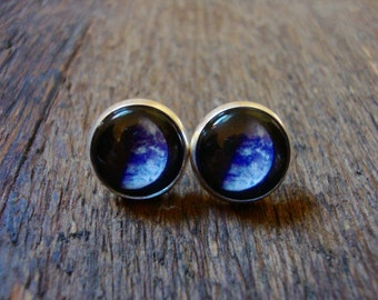 earth stud earrings | space, astrology, science, planet, NASA, posts, black and blue
