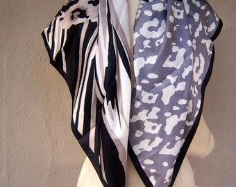 "Vintage ADRIENNE VITTADINI silk scarf / leopard zebra animal print, square 34"""