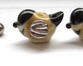 2 blackcapped chickadee bird beads lampwork handmade artisan glass ivory black