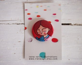 Reading is cool pin, illustrated button girl brooch for book lovers