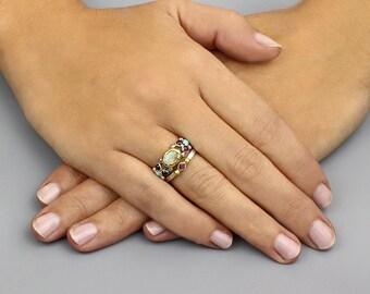 Moonstone Engagement Ring, Wedding Ring Set, Engagement Ring, Bridal Sets Wedding Ring, Moonstone, Bridal Set, Vintage Style Wedding Rings