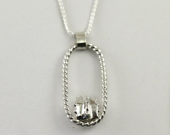 Barrel Cactus Necklace in Sterling Silver, Succulent Necklace