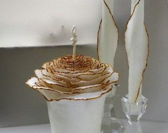 Gold Wedding Unity Candle Set, Glitter Unity Wedding Candle, Glam Wedding, Gift for Couple, Unique Beeswax Rose Candle, Gold Unity Candle