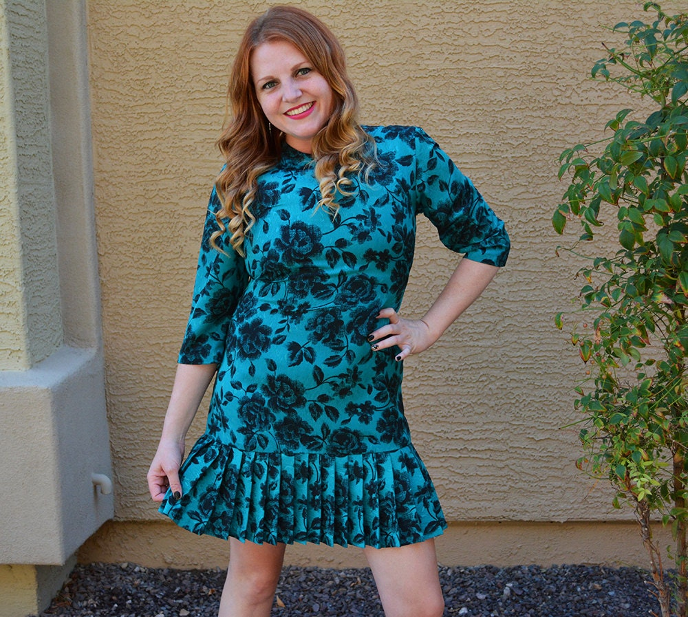 Teal Party Dress Floral Print Drop Waist Dress Pleated Dress 80s ...