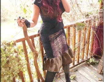 Skirt - Steampunk - Bohemian - Patchwork - Burning Man - Playa Wear - Gypsy Boheme - Designer Fashion - Sexy - Short Skirt - Size Medium