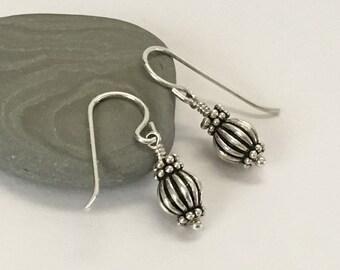 Short Bali Sterling Silver Earrings, Minimalist Jewelry, Petite Casual Earrings, Dainty Everyday Earrings, Girlfriend Gift