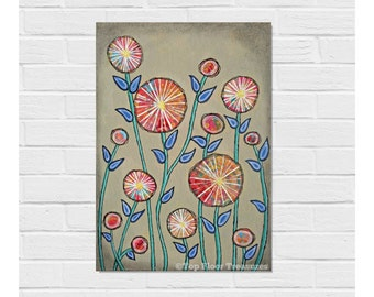 Mixed Media Original / Flowers Painting / Contemporary Art / 14 x 10 inches / Canvas Board