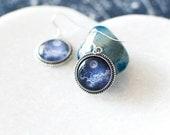 Blue Moon in the Clouds Earrings. Silver Moon Earrings. Moon Jewelry. Blue Moon Earrings. Glass Dome Earrings. Night Sky.